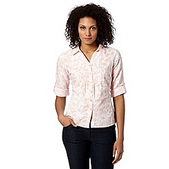 Maine New England - Pale pink floral linen blend shirt