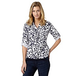 Maine New England - Navy floral linen blend shirt