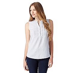 Maine New England - Blue striped linen blend top
