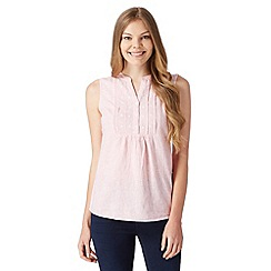 Maine New England - Bright pink striped linen blend top