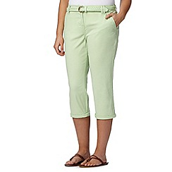 Maine New England - Bright green plaited belt cropped chinos
