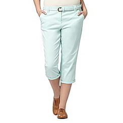 Maine New England - Pale green plait belted cropped chinos