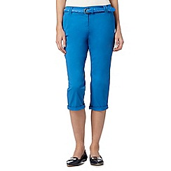 Maine New England - Bright blue plait belted cropped chinos