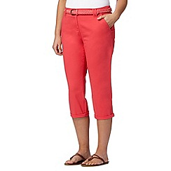 Maine New England - Bright pink plaited belt cropped chinos