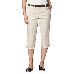 Maine New England - Natural plaited belt cropped chinos