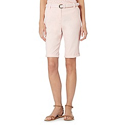 Maine New England - Pale pink belted chino shorts