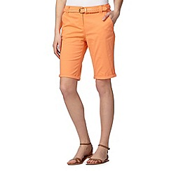 Maine New England - Light orange belted chino shorts