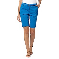 Maine New England - Bright blue belted chino shorts