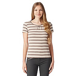 Maine New England - Taupe striped scoop neck t-shirt
