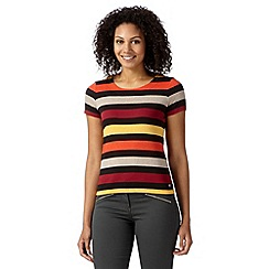 Maine New England - Dark orange block striped t-shirt