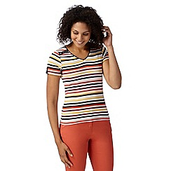 Maine New England - Dark red bright striped V neck t-shirt