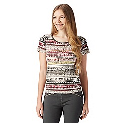 Maine New England - Chocolate striped pattern scoop neck top