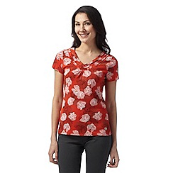 Maine New England - Dark orange orchid print ruffle V neck top