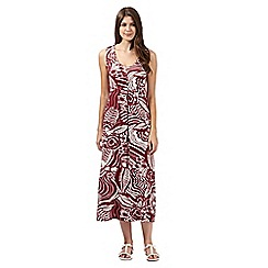 Maine New England - Dark red leaf print jersey maxi dress