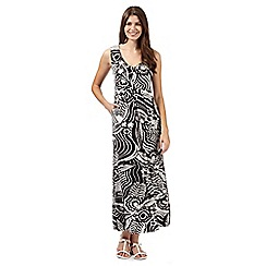 Maine New England - Black leaf print jersey maxi dress