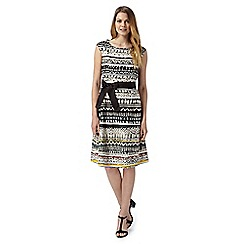 Maine New England - Chocolate textured stripe dress