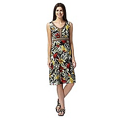 Maine New England - Khaki floral print woven dress