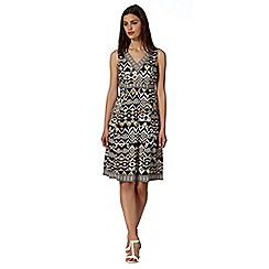 Maine New England - Taupe aztec geo print dress