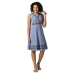 Maine New England - Blue embroidered chambray dress