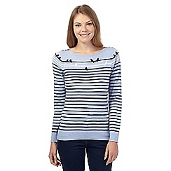 Maine New England - Light blue bird and stripe cashmere blend jumper