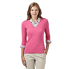 Maine New England - Pink mock 2-in-1 cable knit jumper and shirt