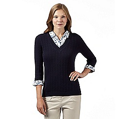 Maine New England - Navy mock 2-in-1 cable knit jumper and shirt
