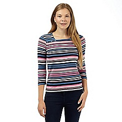 Maine New England - Blue multi striped square neck top