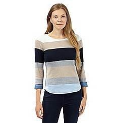 Maine New England - Blue block striped roll sleeve top