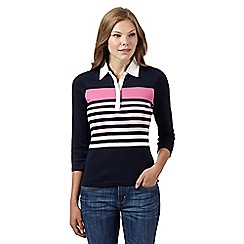 Maine New England - Navy colour block stripe collared top