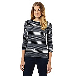 Maine New England - Navy striped jewelled three quarter length sleeved top