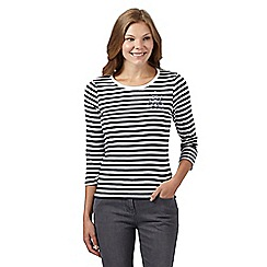 Maine New England - Navy striped jewel corsage top