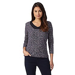Maine New England - Navy dotted V neck top