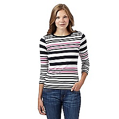 Maine New England - Navy multi striped top