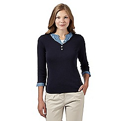 Maine New England - Navy mock 3-in-1 grandad top