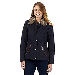 Maine New England - Navy quilted faux fur jacket