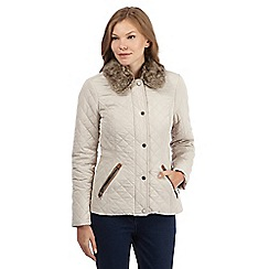Maine New England - Natural quilted faux fur collar jacket