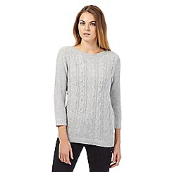Maine New England - Light grey cable knit jumper