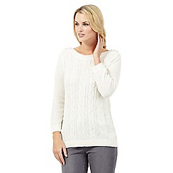 Maine New England - Ivory cable knit cashmere blend jumper