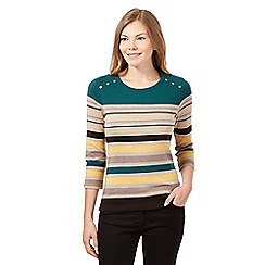 Maine New England - Dark green striped scoop neck top