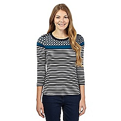 Maine New England - Navy striped paisley tile yoke top