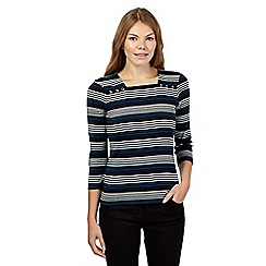Maine New England - Black striped square neck top