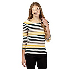 Maine New England - Natural striped scoop neck top
