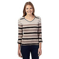 Maine New England - Natural striped V neck top