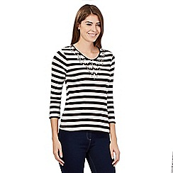Maine New England - Dark brown three quarter length sleeve striped top