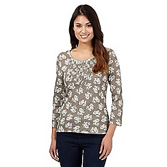 Maine New England - Taupe floral ruched top