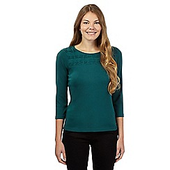 Maine New England - Dark green pleated yoke top