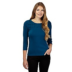 Maine New England - Turquoise pleated yoke top