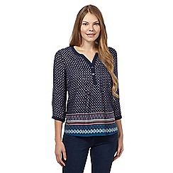 Maine New England - Navy geometric notch top