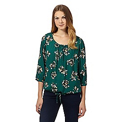 Maine New England - Dark green bouquet print bubble top
