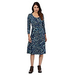 Maine New England - Turquoise spotted circle print jersey dress